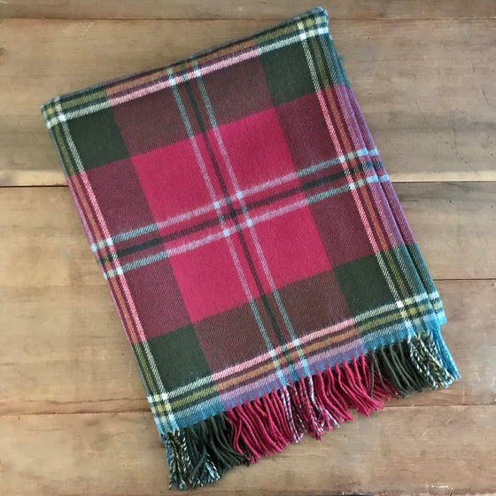 Scottish Tartan Lambswool Throw - MacLean of Duart Weathered