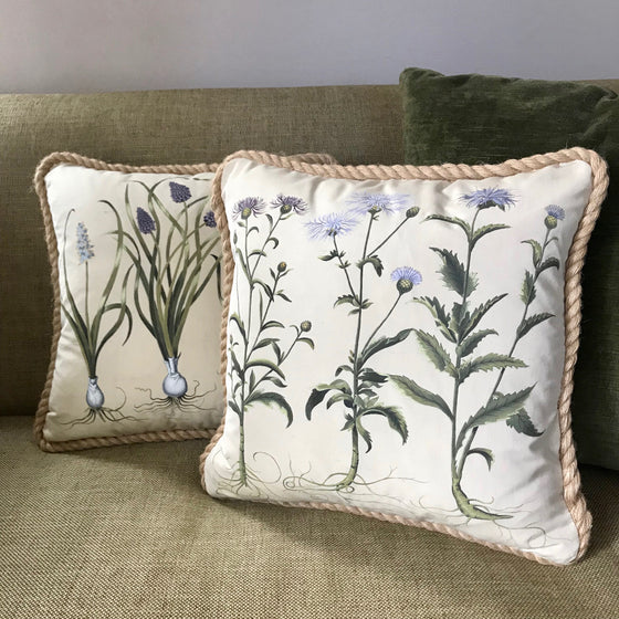 Hand-Painted 17th Century Botanical Throw Cushions