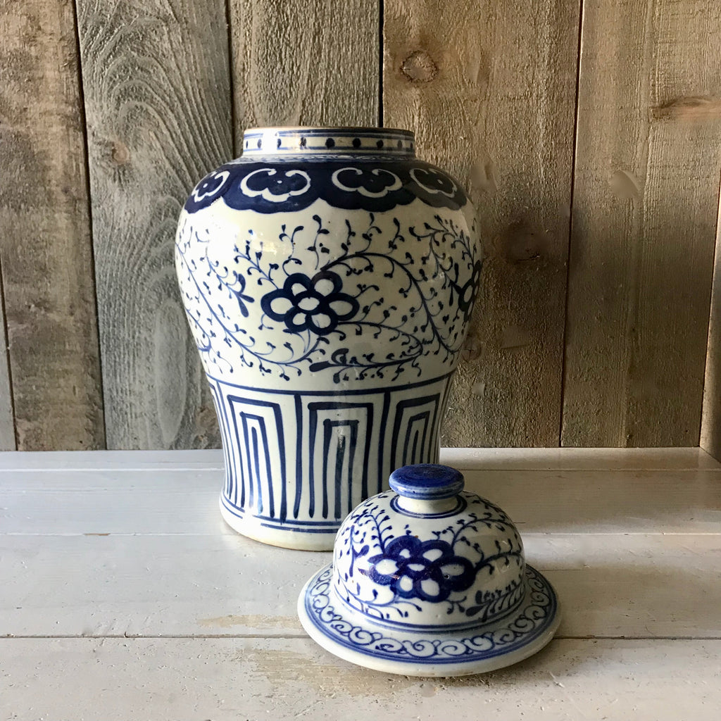 Chinese Porcelain Temple Jar with Flowers