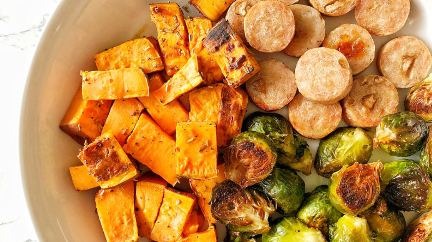 Sheet Pan Roasted Brussels Sprouts, Sweet Potatoes, & Chicken Sausage