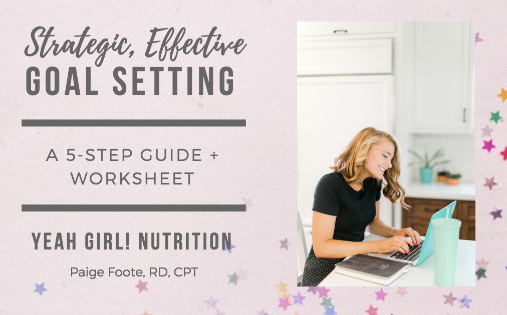 Free Goal-Setting Guide by Registered Dietitian Nutritionist and Personal Trainer. A 5-step guide + worksheet