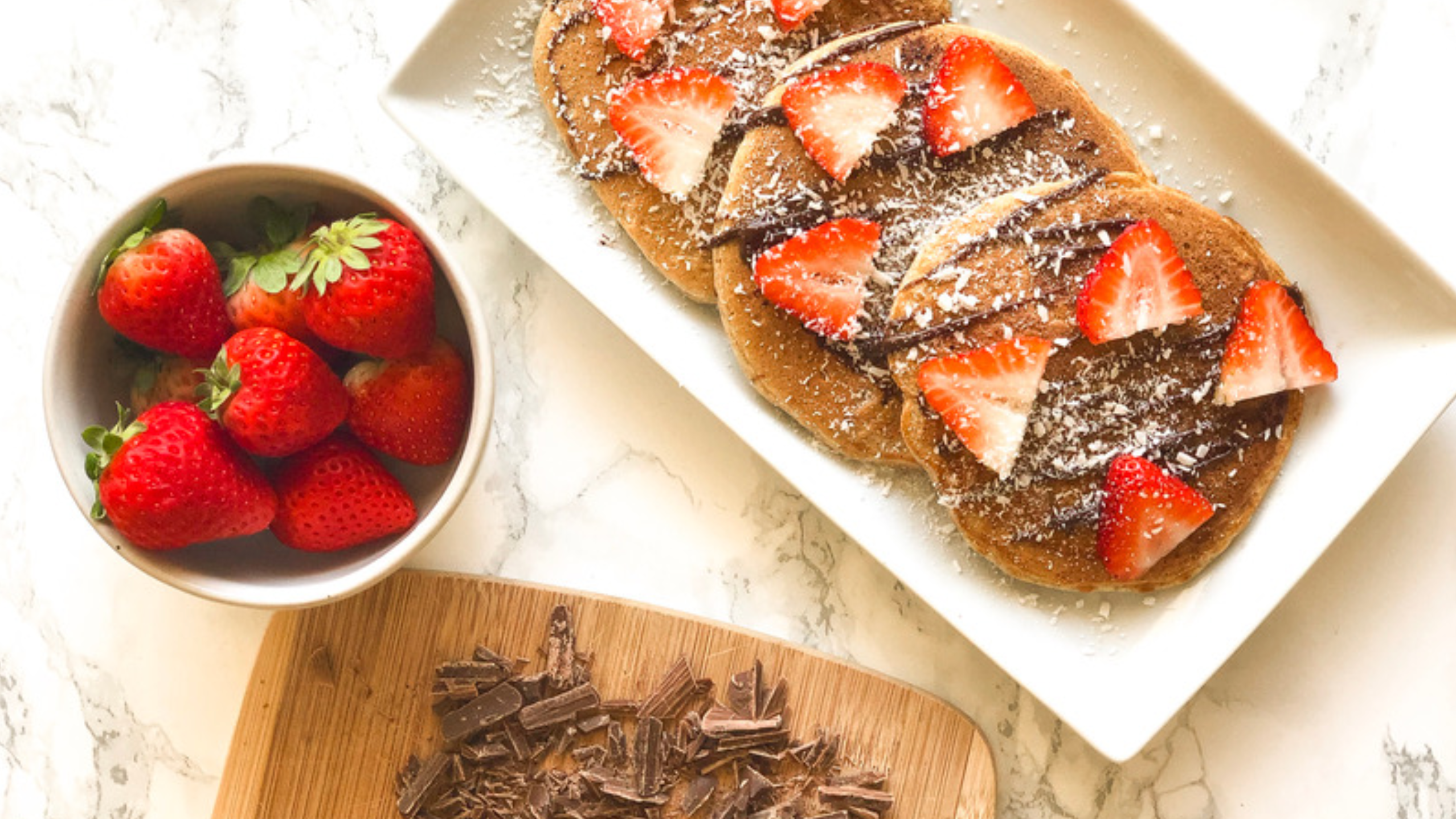 Chocolate Covered Strawberry Protein Pancakes