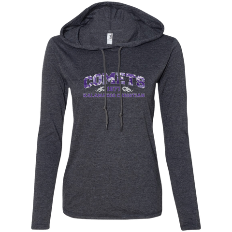 Purple Camo 887L Anvil Ladies Long Sleeve T-Shirt Hoodie