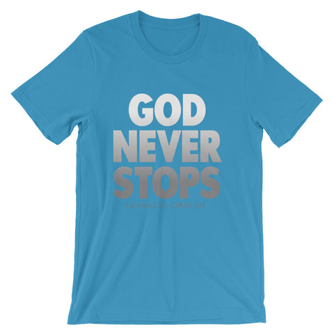 God Never Stops Bella + Canvas 3001 Unisex Short Sleeve Jersey T-Shirt