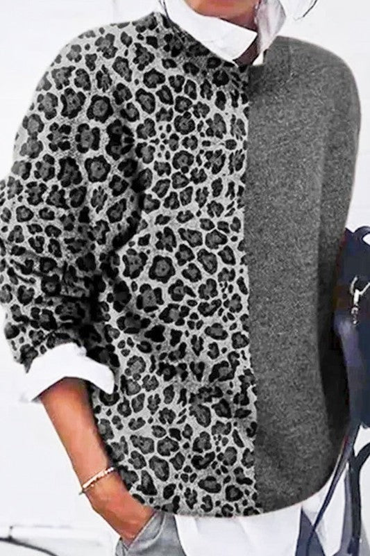 Leopard Contrast Sweater (More Colors)