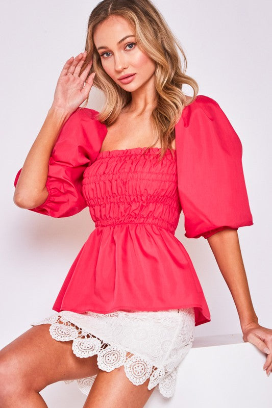 Balloon Sleeve Peplum Top (More Colors)