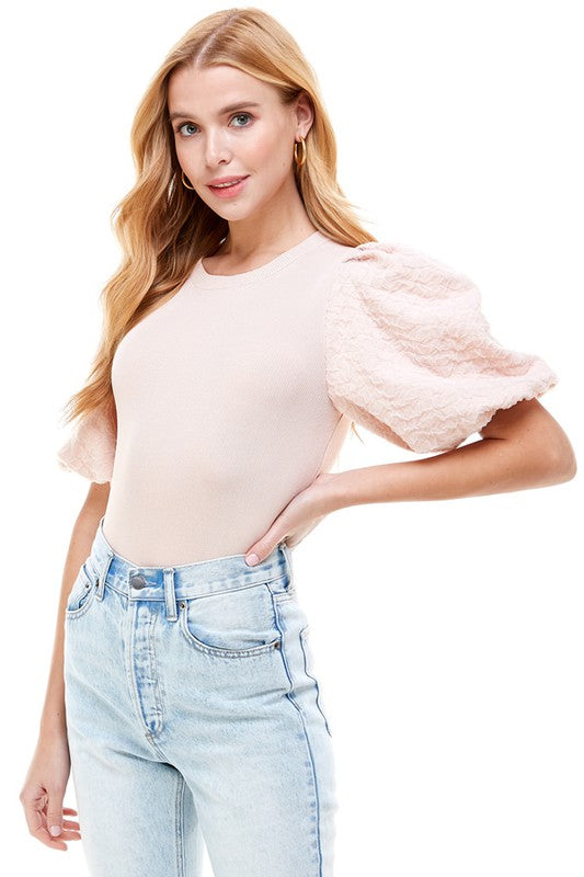Contrast Puff Sleeve Top