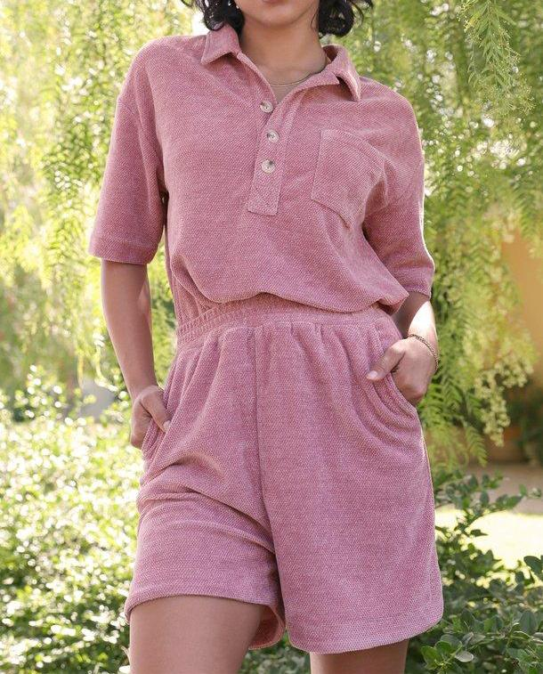 Boston Chenille Cozy Shorts Set