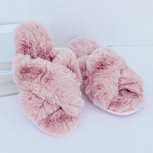 Fuzzy Cross Band Slippers (More Colors)
