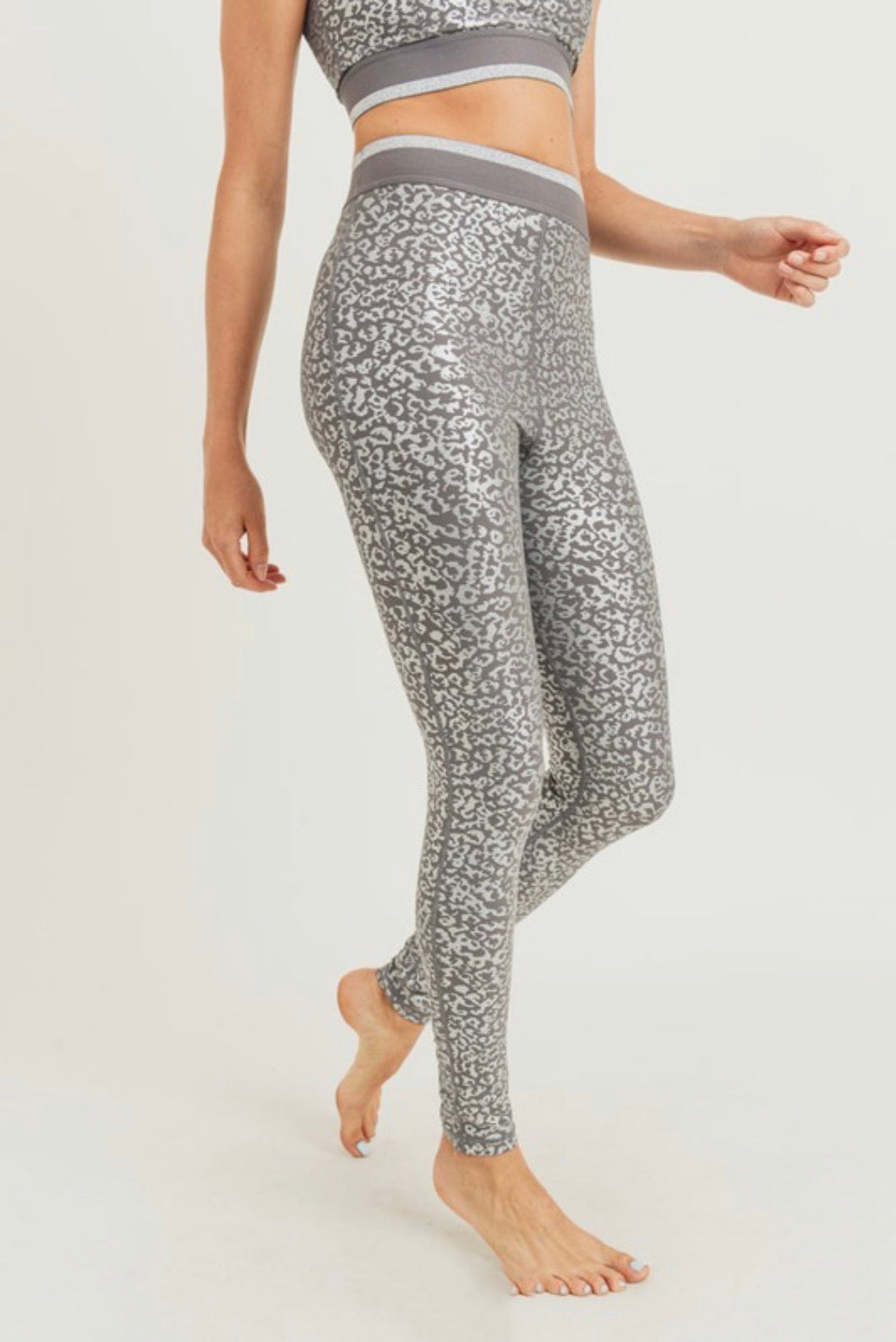 Silver Foil Leopard Print Highwaist Leggings
