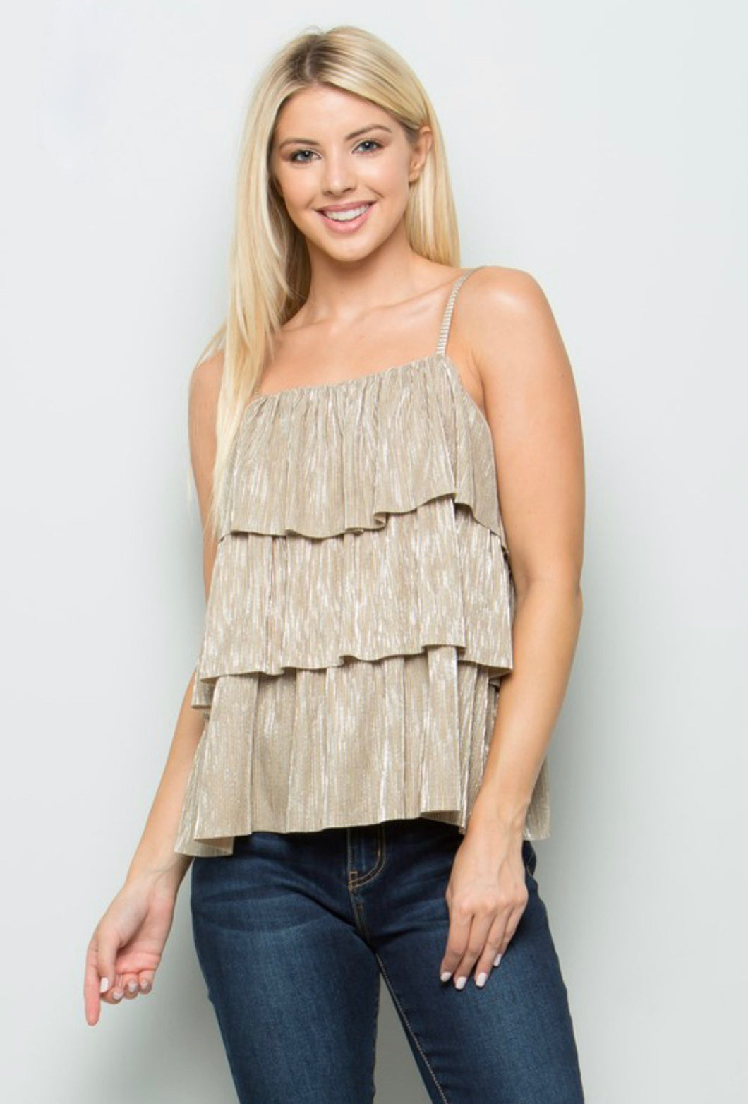 Metallic Pleats Tier Top (More Colors)