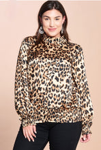 Mock Neck Leopard Top (Plus Size)
