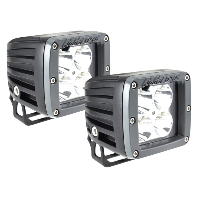 2 Inch Utility LED Light Dual Row 10 Watt Chips Spot Beam Pair W/Harness ROK40 Lightforce