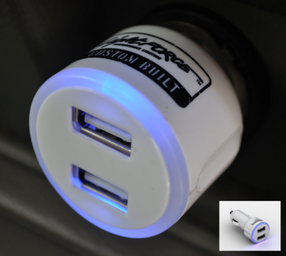 USB Charger 12/24 Volt W/Dual Outlets and Blue Illuminated Rings 29 Volt Max Lightforce