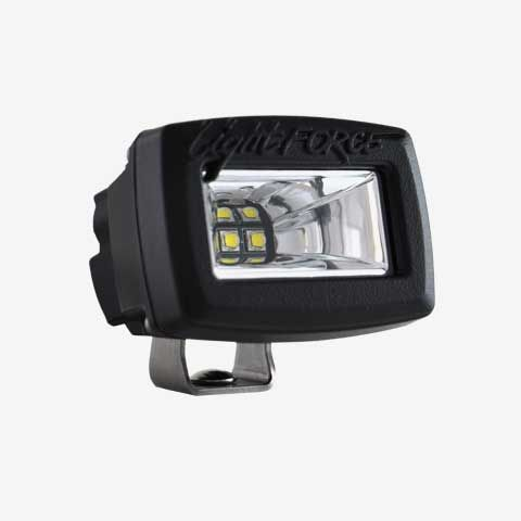 2 Inch Utility Light Single Row 10W Chips Ultra Flood Beam Black Fascia ROK20 Lightforce
