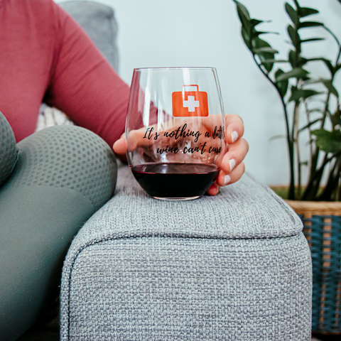 Image of A Little Wine | Stemless Funny Wine Glass