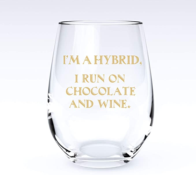 Hybrid | Stemless Funny Wine Glass-Home Euphoria