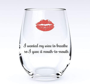 Breathe | Stemless Funny Wine Glass