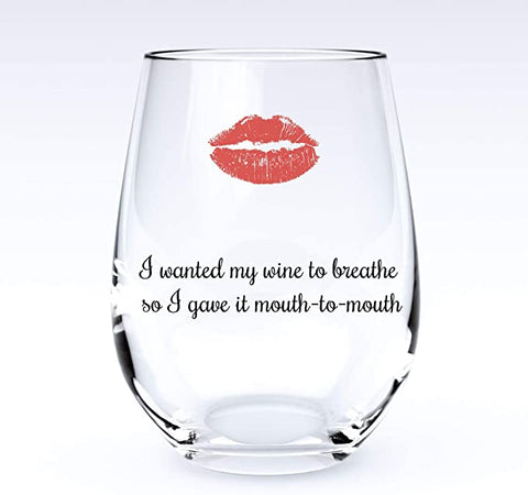 Image of Breathe | Stemless Funny Wine Glass
