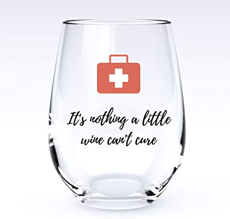 A Little Wine | Stemless Funny Wine Glass-Home Euphoria