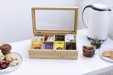 Premium Adjustable Tea Box Organizer with Real Glass Display Lid in Bamboo or Acacia