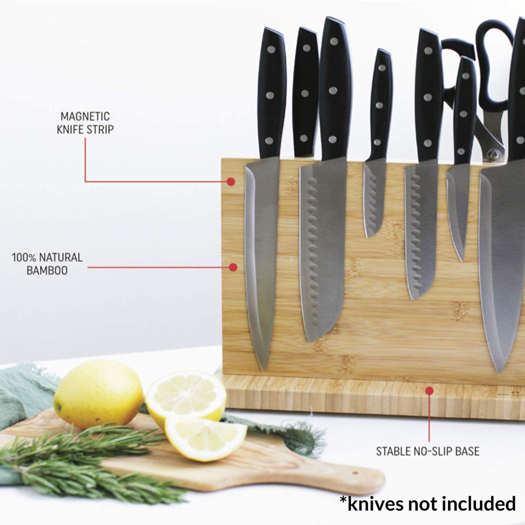 Magnetic Knife Block Holder for Storage and Organization Fits up to 12 Knives