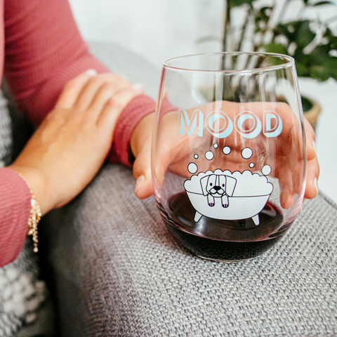 Mood | Stemless Funny Wine Glass