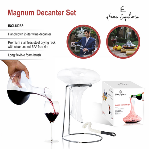 Magnum Wine Decanter Aerator (2000 mL) Holds 2 Wine Bottles