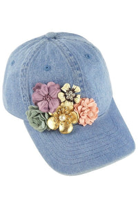 Denim Baseball Cap with Floral Embellishment