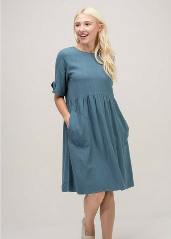 Indigo Exchange | Take Me Away Smock Dress in Teal
