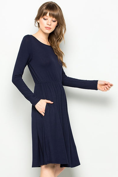 Indigo Exchange | Navy Long Sleeve Babydoll Dress