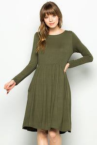 Woman's Modest Olive Babydoll Dress with Sleeves | Indigo Exchange