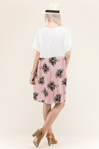 Modest Knee Length Rayon Floral Two Tone Dress