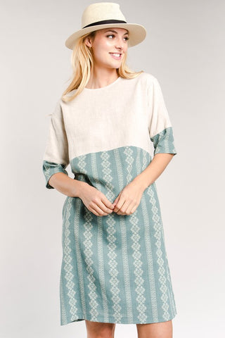Indigo Exchange | Portland Linen Shift Dress in Sage
