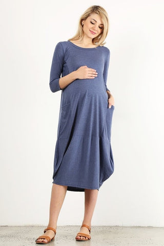 Modest Blue 3/4 Sleeves Maternity and Plus Size Dress
