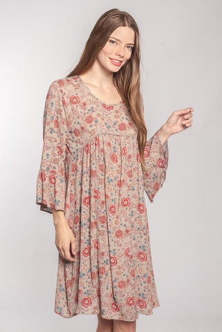 Modest Knee Length Rayon Floral  Dress Bell Sleeves