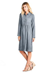 Modest Women's Grey Shirt Dress With Long Sleeves | Indigo Exchange