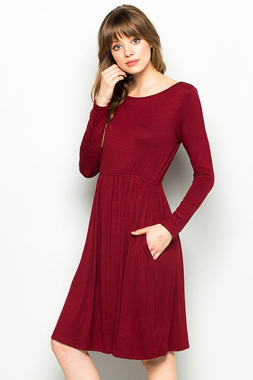 Indigo Exchange | Burgundy Long Sleeve Babydoll Dress