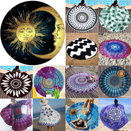 Round Beach Towel Indian Mandala Tapestries Wall Hanging Yoga Mat Bedspread