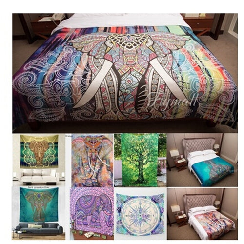 Fashion Room Decor Elephant Pattern Tapestry Multicolored Mandala Printed Tapestry Indian Boho Wall Bedroom Carpet Bed Sheets