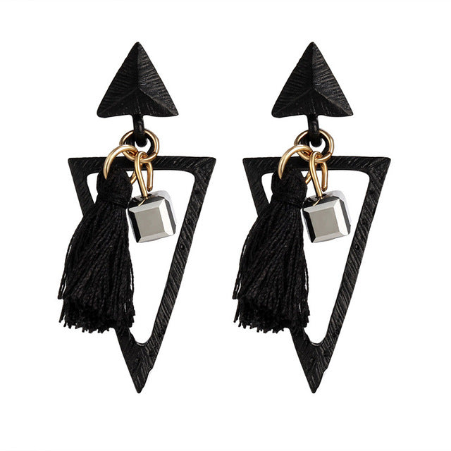 Geometric Triangle Silk Tassel Earrings