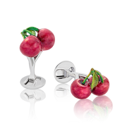 The Pacha CHERRIES Cufflinks in Silver handcrafted Fils Unique