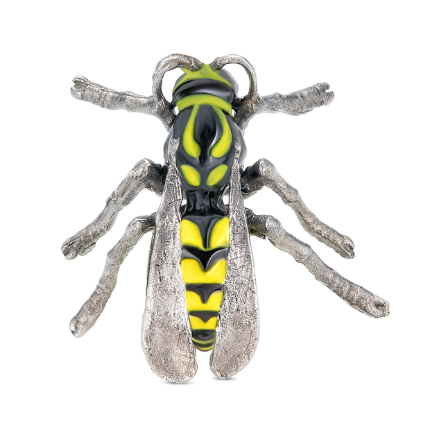 Rhodium Plated with Non-stinging (gentle) Painted Wasp pin