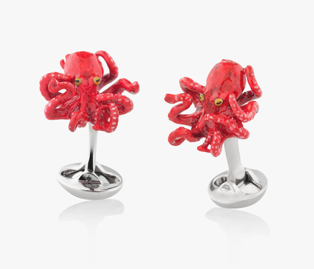 Octopus Luxury Cufflinks in Silver handpainted enamel Fils Unique Sixteen legs