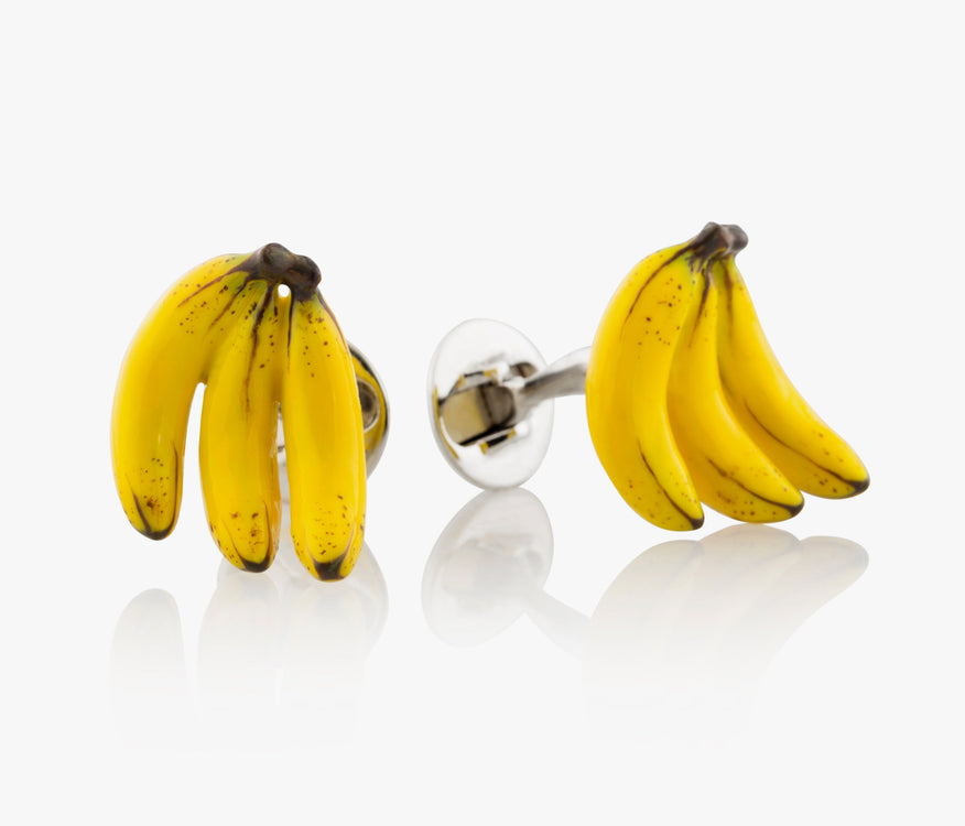3 Bananas Luxury Cufflinks in Silver handpainted enamel Fils Unique The Reed³