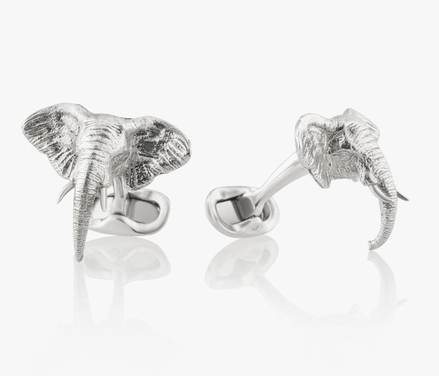 Elephant Head Luxury Cufflinks in Silver handcrafted Fils Unique Ziggy