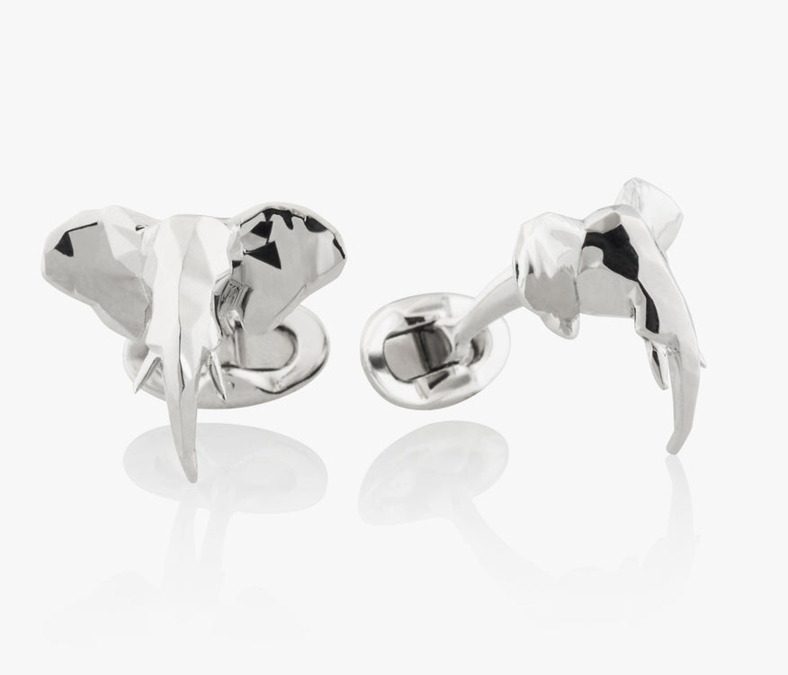 Faceted Elephant Head Luxury Cufflinks in Silver handcrafted Fils Unique Ziggy