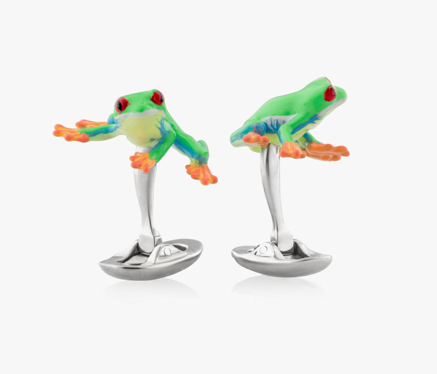 Poisonous Frogs Luxury Cufflinks in Silver handpainted enamel Fils Unique the Red Eye