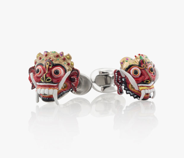 Balinese Masks Luxury Cufflinks in Silver enamel handpainted Fils Unique Rangda