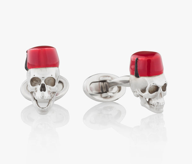 Moroccan Hat Skull Luxury Cufflinks in Silver handpainted enamel Fils Unique Yorick in Casablanca